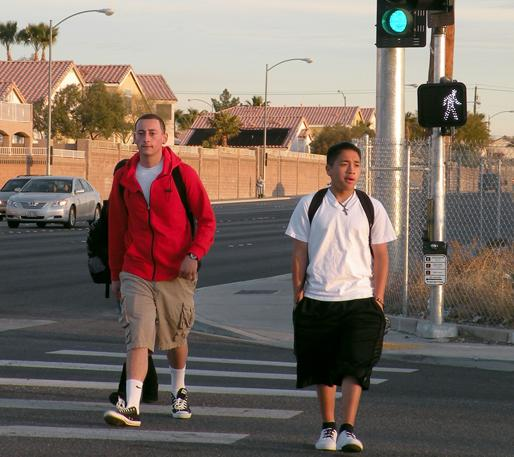 Students should be aware of their surroundings in and out of the crosswalk.