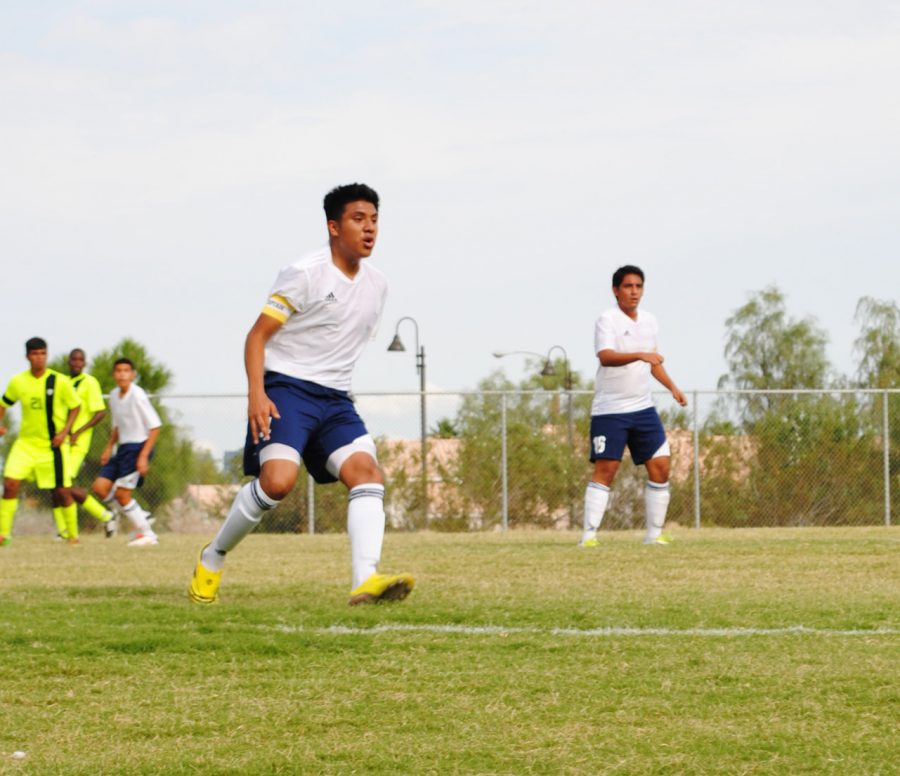 Captain Daniel Garcia on the field for the Mens Varsity Soccer Team