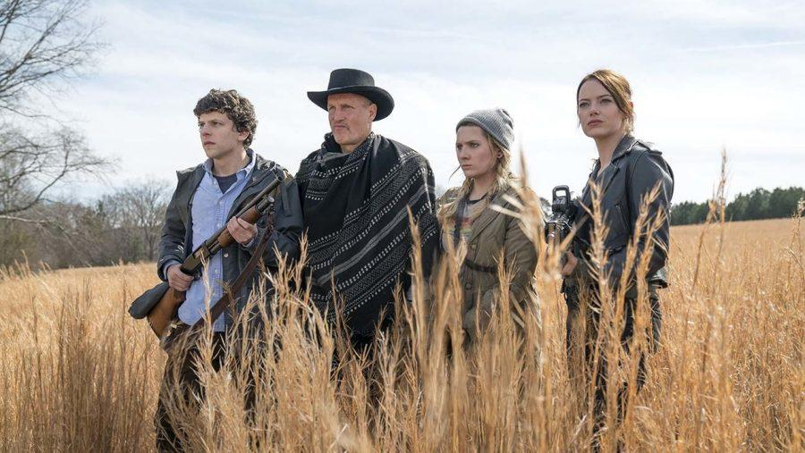 Columbus (Jesse Eisenberg), Tallahassee (Woody Harrelson), Little Rock (Abigail Breslin) and Wichita (Emma Stone) in Columbia Pictures' ZOMBIELAND: DOUBLE TAP.