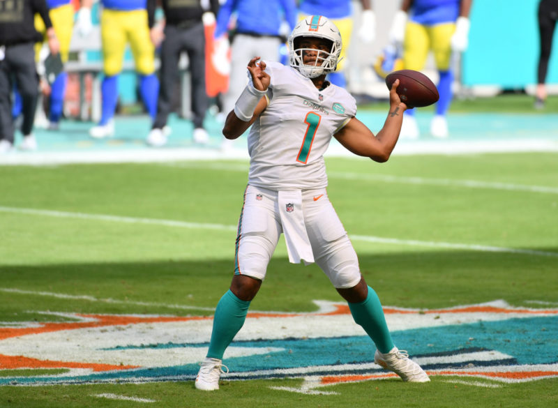 Nov 1, 2020; Miami Gardens, Florida, USA;  Miami Dolphins quarterback Tua Tagovailoa (1) throws a pass against the Los Angeles Rams in the first quarter at Hard Rock Stadium. Mandatory Credit: Jasen Vinlove-USA TODAY Sports
