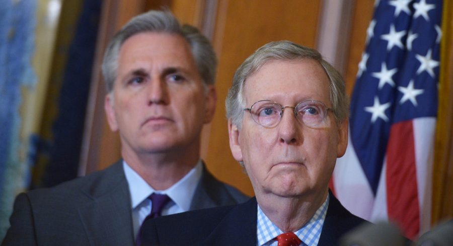 House Minority Leader Kevin McCarthy (left) and Senate Minority Leader Mitch McConnell (right)