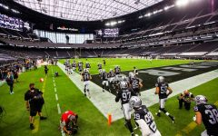 Las Vegas Raiders take the field at Allegiant Stadium in Paradise, Nevada. Photo courtesy: Las Vegas Review-Journal